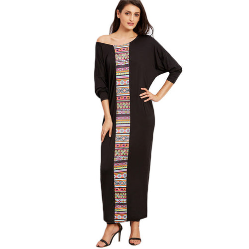 Drop Shoulder Long Sleeve Loose Maxi Dress