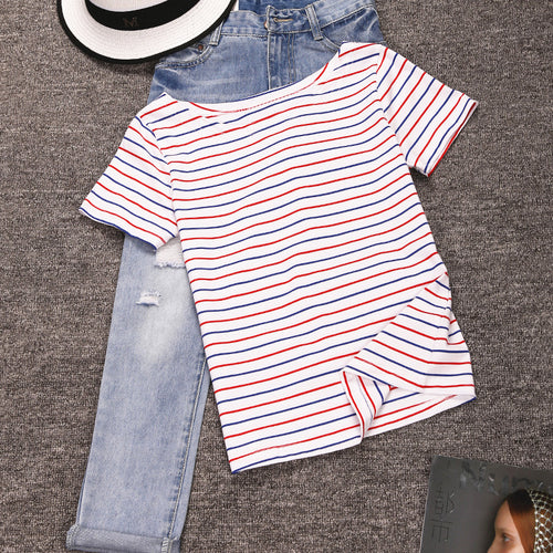 Women's O-neck Cotton  Short Sleeved Striped T-Shirt in 8 Sizes
