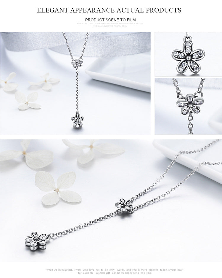 Cute Flowers at Each End - Cute Long Pendant Necklace for Women, Crafted from Silver and Crystals