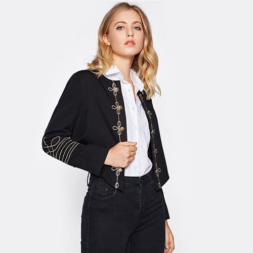 Women's Coat Collarless Embroidery Blazer