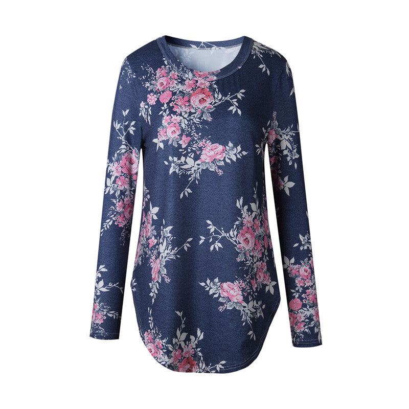 Long Sleeves Pink Flower Floral T-Shirt for Women