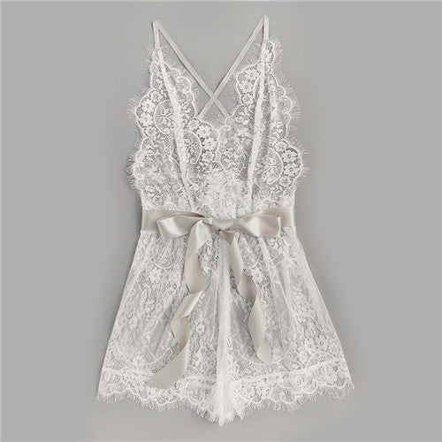 Women's Cute & Sexy Lace Pajama with Ribbon Waist Knot