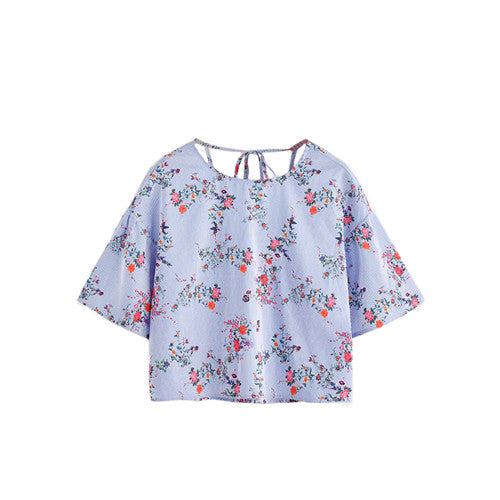 Flower Print Drop Shoulder Tied V Back Striped Top for Women