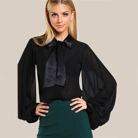 f582d7bb85a10 Women s Elegant Long Lantern Sleeves Chiffon Blouse with Cute Bow Neck  Ribbon.  24.62 USD. Women s Sexy Black Crop Top with Drawstring Front
