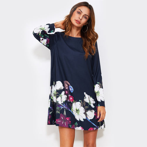 Sexy Navy Blue Flower Print Fall A Line Mini Dress with Long Sleeve