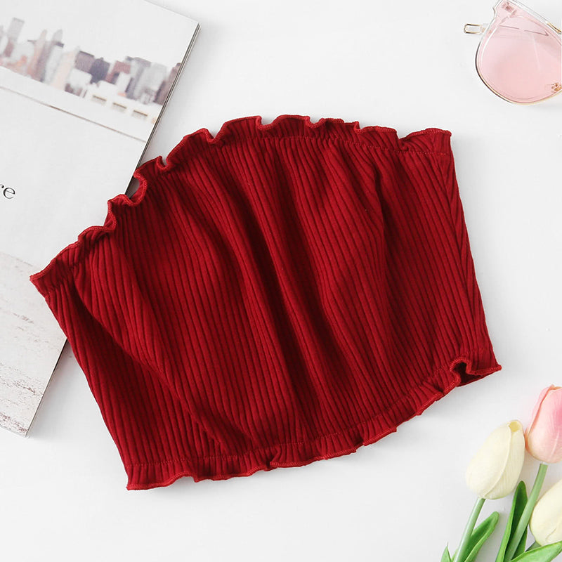 Burgundy Frill Trim Ribbed Bandeau Top - Sexy Crop Top for Women