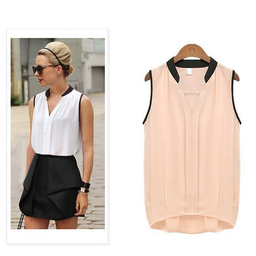 Women Casual Chiffon Sleeveless Blouses in 2 Colors and 5 Sizes