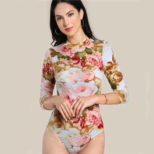 Women's Elegant Body with 3 Quarter Sleeves and Cute Floral Print