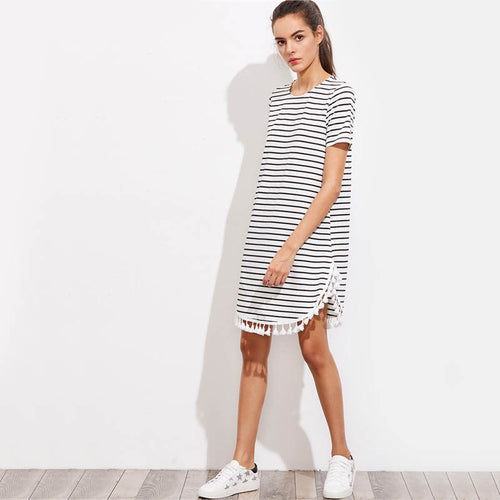 Black and White Short Sleeve Casual T shirt Dress