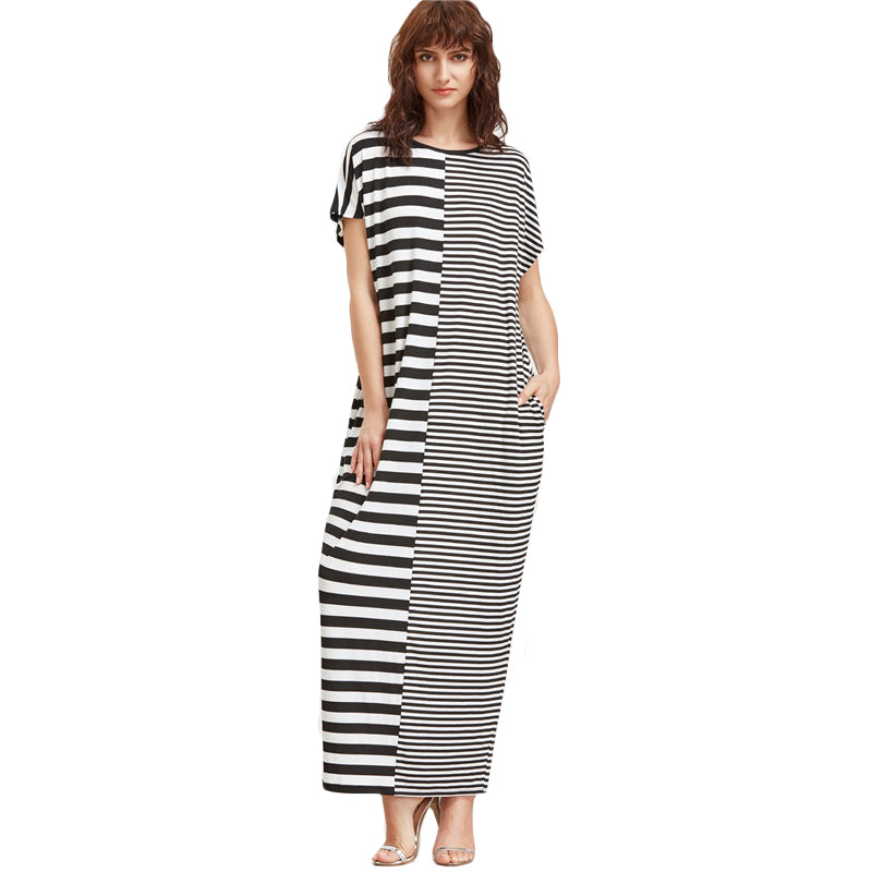 Women Short Sleeve Black and White Maxi Dress