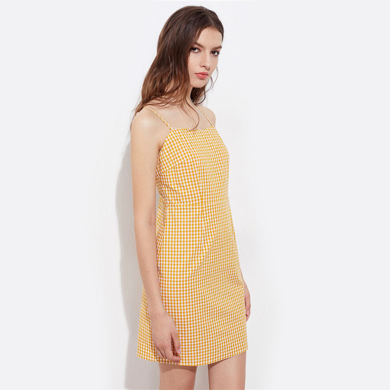 Yellow Plaid Spaghetti Strap Dress Sleeveless