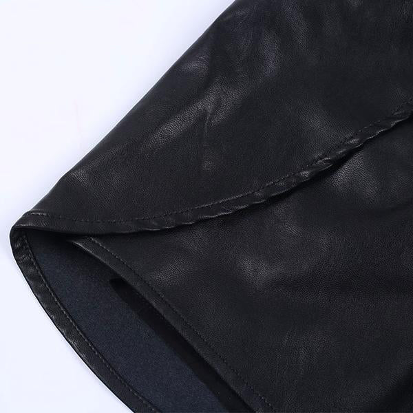Women's Elegant and Sexy Faux Leather High Waist Black Shorts