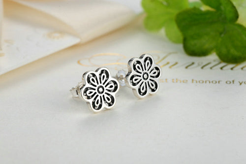 Feel Lovely - Set of Cute Floral Earrings Crafted from Silver