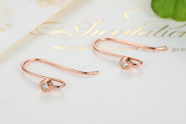 Elegance of Simplicity - Diamond Look Lovely earrings Crafted with Silver and Crystals (Gold Plated Variant)