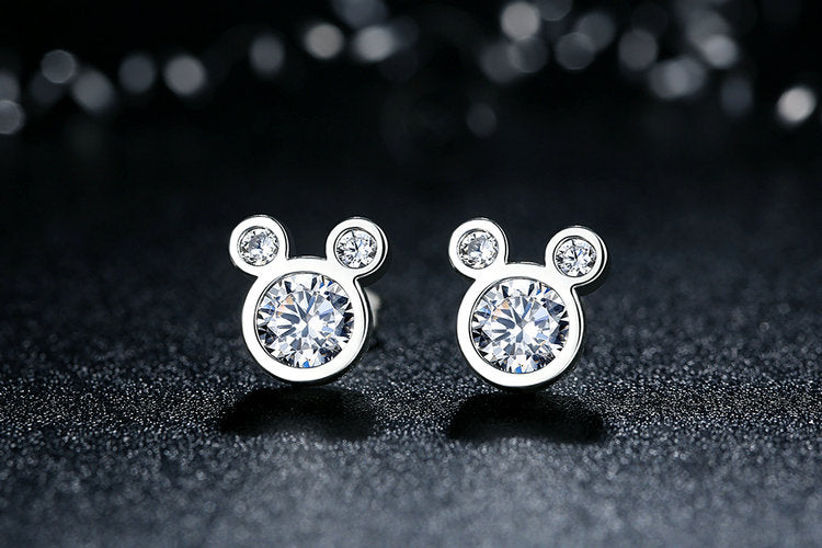 Feel Young - Cute Mickey Stud Earrings Crafted from Silver and Crystals