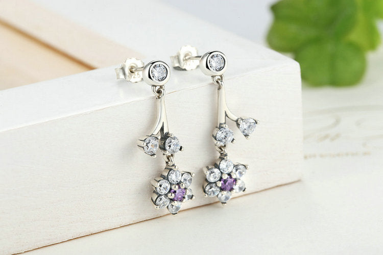 Look of Gorgeous Diamonds and Topaz - Floral Earrings for Women Crafted from Silver and Crystals
