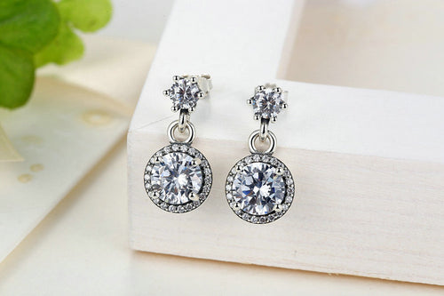 Wear the Elegance - Women's Classic Round Drop Earrings Crafted from Silver and Crystals