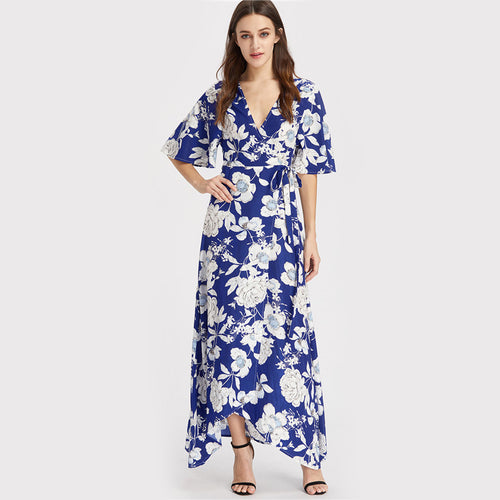 Floral Print Deep V Neck Maxi Dress