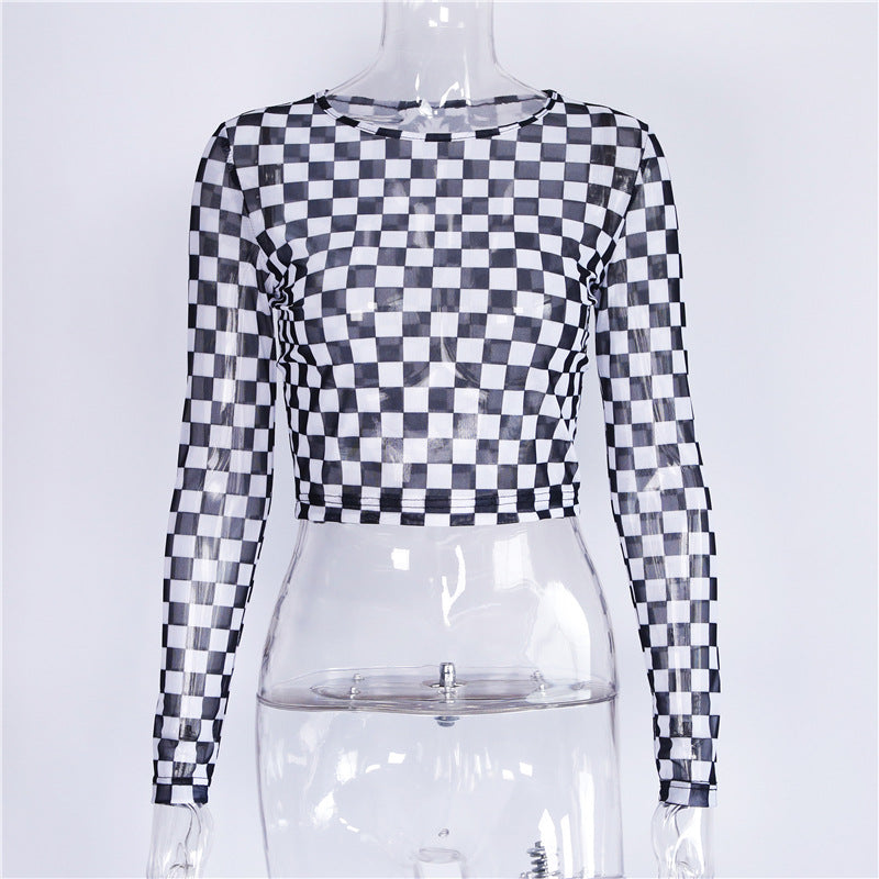 Hollowed Out Sexy Checkerboard Long Sleeves T-Shirts for Women in 3 Sizes