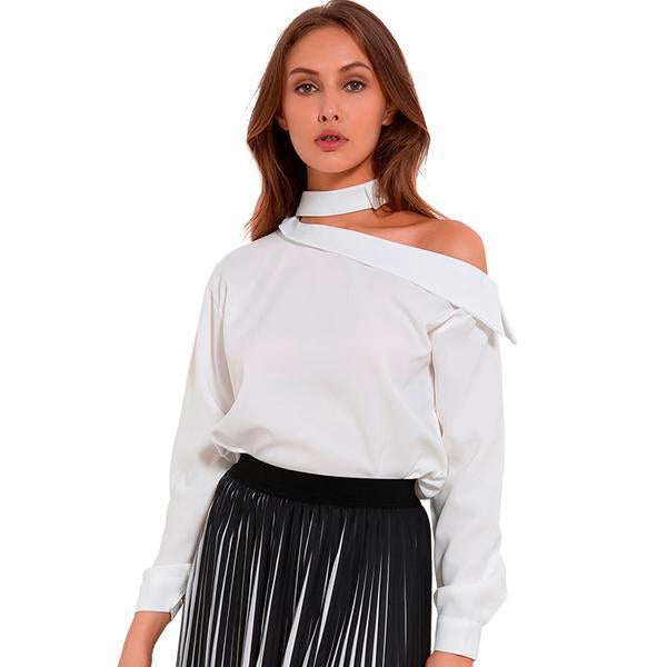 f5d398de176 Women Sexy yet Elegant Tops with One Off-Shoulder and Long Sleeves ...