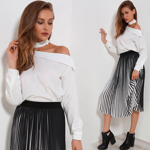 Women Sexy yet Elegant Tops with One Off-Shoulder and Long Sleeves