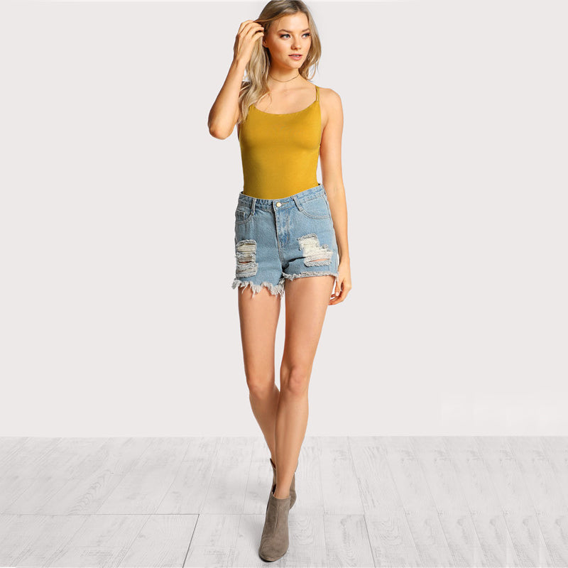 Women's Sexy Skinny Backless Bodysuit in Yellow Color