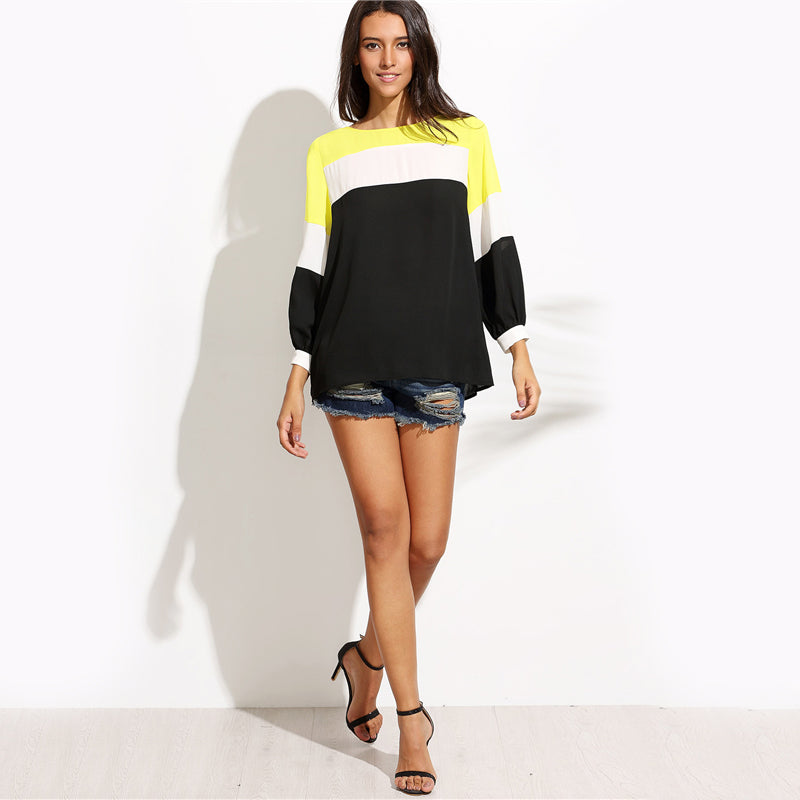 Women's Chiffon Lantern Sleeves Patchwork Top with 3 Color Combinations