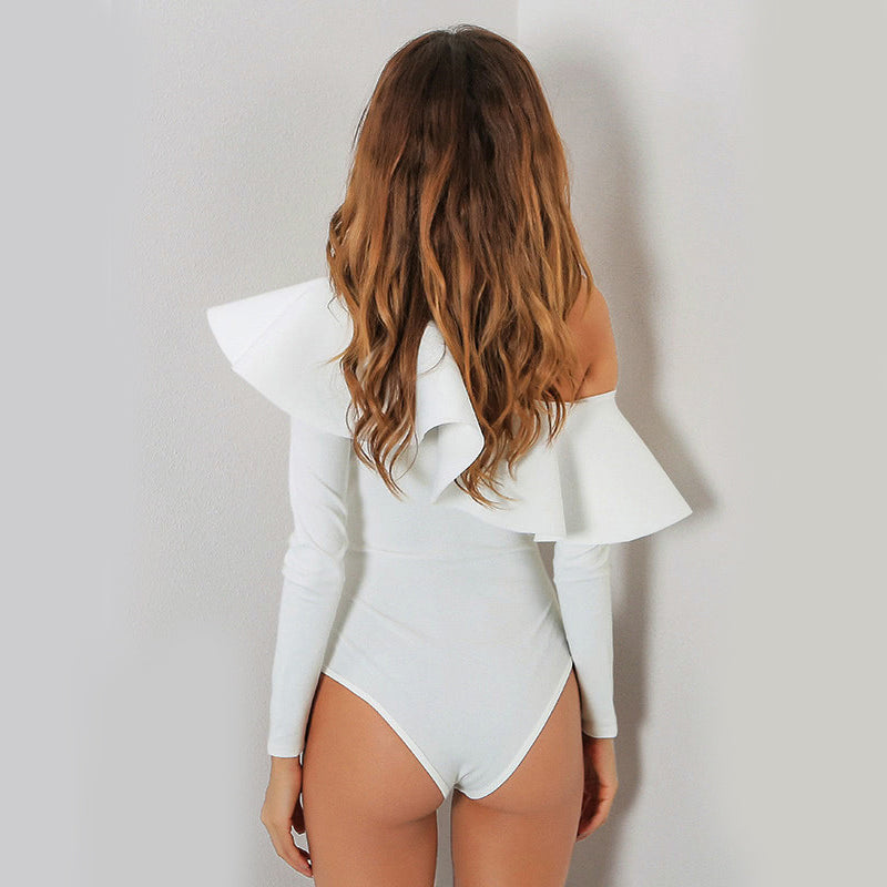 Women's One Off-Shoulder Elegant & Sexy  White Bodysuit with Ruffled Top