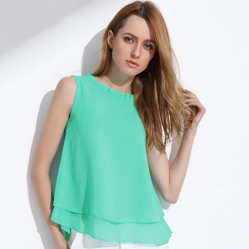 Women's Sleeveless Loose Ruffle Chiffon Tops in 5 Cute Colors