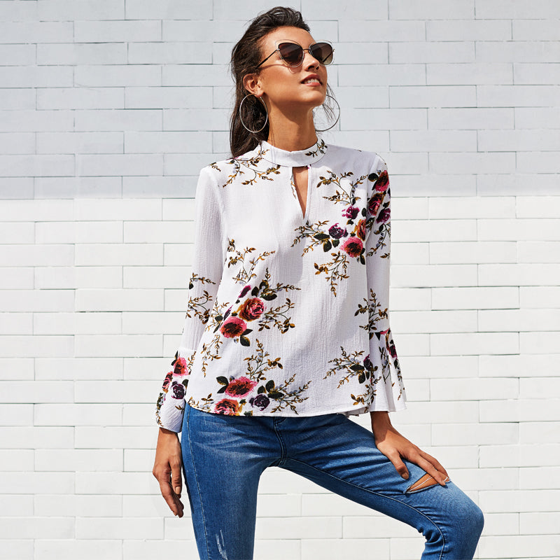 Women's Cute V-Neck Flare Sleeve Band Collar Top with Floral Print