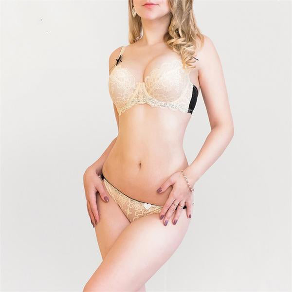 Ultra- Sexy and Ultra-Thin Floral Transparent Lace Bra Pantie Set in 5 Colors and 14 Sizes