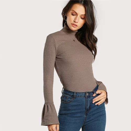 Women's Bell Cuff Tight Fit High Neck Long Sleeve Elegant Top