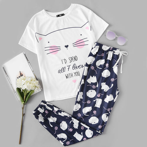 Lovely Cat Print Sleepwear for Women - Round Neck White Tee and Blue Pants Pajama Set