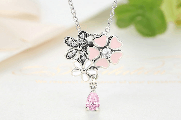 Beauty of Flowers - Cute Pendant Necklace Crafted from Silver and Crystals