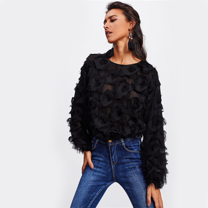 Women's Sexy Black Long Sleeve Round Neck Autumn Top