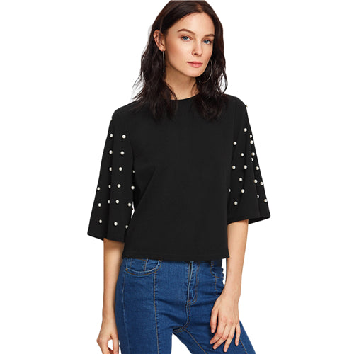 Women's Elegant Black Autumn Tops with Beautiful Sleeves with Beading