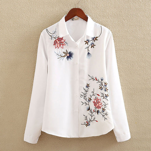 7 Designs of Floral Embroidered Shirt for Women
