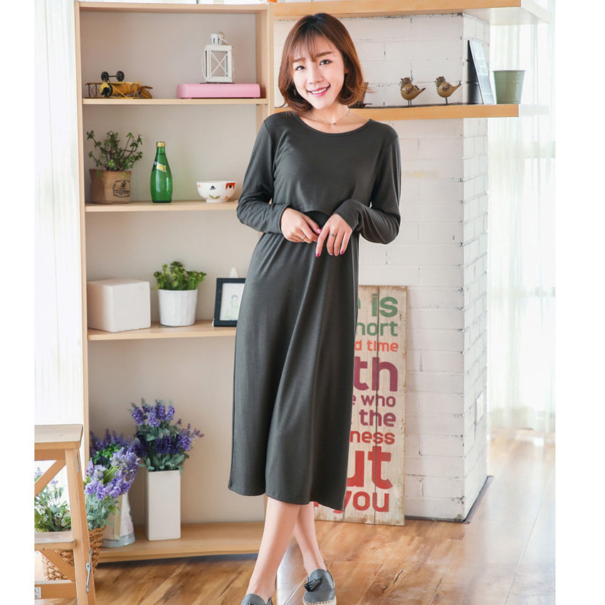 Mom s Dress for Easy Breast Feeding with Long Sleeves in 3 colors ... a23c8709a