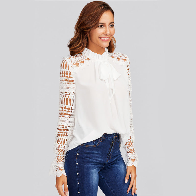 Women's Elegant White Top with Long Lace Sleeves and Frilled Tie Neck