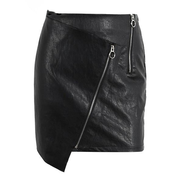 Women's High Waist Black Short Faux Leather Pencil Skirt with Attractive Zippers Decoration