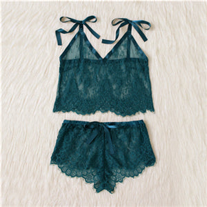 Green Spaghetti Strap V Neck Eyelash Lace Camisole Top and Shorts Pajama Set