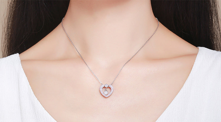 Authentic 925 Sterling Silver Sparking Pink CZ Heart Shape Pendant Necklace