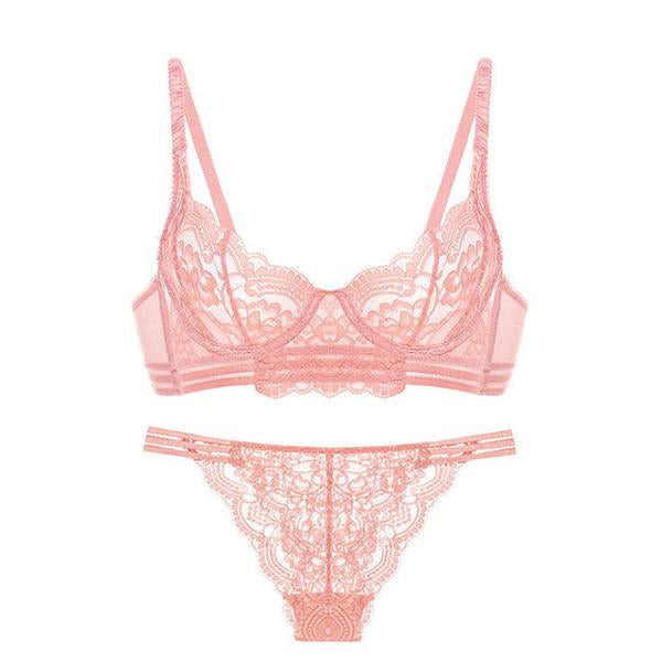 Sexy Lace See-Trough Lingerie Set in 4 Colors and 13 Sizes