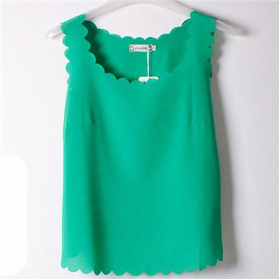 14 Cool Colors of Chiffon Sleeveless Top for Women with Wavy Edge and Low Round Neck