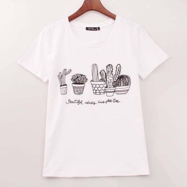 Kawaii Cactus Printed T-shirt for Women's in Black and White Colors