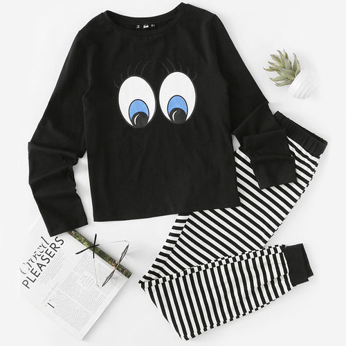 Casual Black and White Long Sleeve Striped Sweatpants Pajama Set for Women