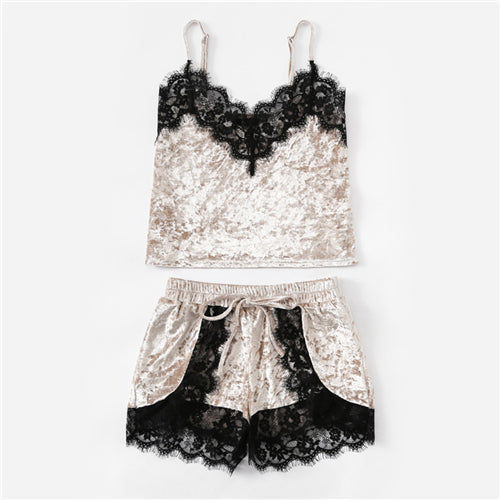 Women's Pajama Set with Eyelash Lace Sleeveless Velvet Short Top and Shorts