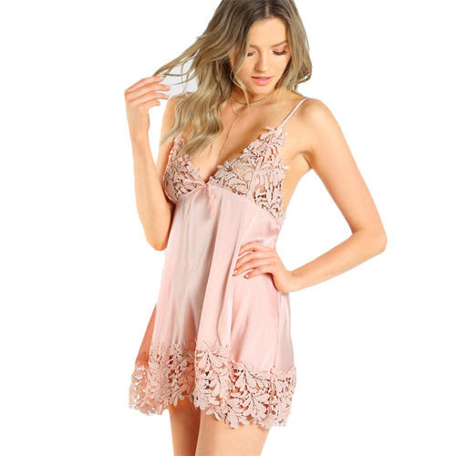 Sexy Pink Nightdress with  Spaghetti Strap and Deep V-Neck for Women