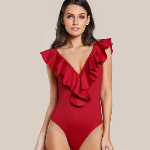 Women's Elegantly Sexy Deep V-Neck Bodysuit with Ruffles