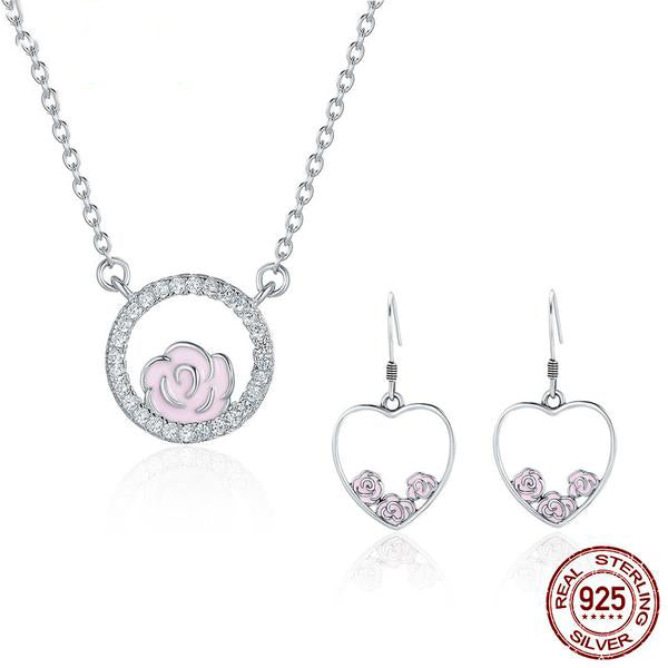 Elegance of Diamonds and Beauty of Rose - Jewelry Set Crafted with Silver and Diamonds like Crystals